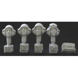 HOR-HZH01 1/35 4 heads. Israeli AFV helmet. Mics. 80s