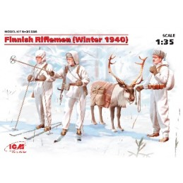 ICM-35566 ICM 35566 1/35 Finnish Riflemen (Winter 1940) (4 figures - 3 rifleman, 1 reindeer)