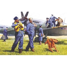 ICM-48081 1/48 ICM 48081 RAF Pilots and Ground Personnel (1939-1945) (7 figures - 3 pilots, 3 mechanics, 1 WREN member, and dog