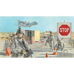 ITA-6521 1/35  ROAD BLOCK and US SOLDIERS
