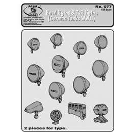 RM-077 ROYAL MODEL 077 1/35 Head Lights-Tails Light for WWII German Tanks