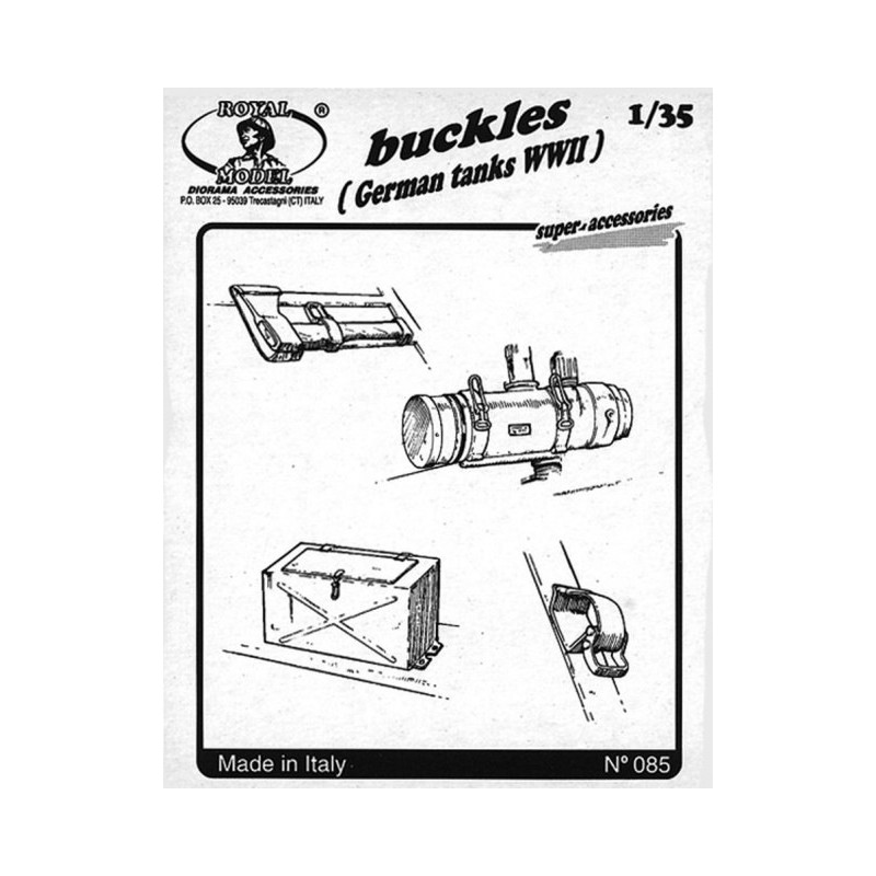 RM-085 ROYAL MODEL 085 1/35 BUCKLES (FOR GERMAN TANKS WWII). PHOTOETCHED