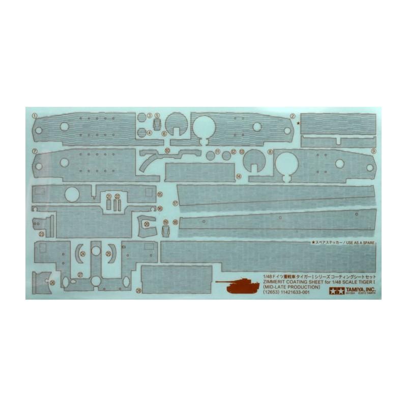 TAM-12653 Tamiya 12653 1/48 Zimmerit Coating Sheet - Tiger I Late Production