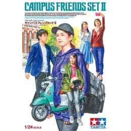 TAM-24356 Tamiya 24356 1/24 Campus Friends Set II (plus scooter)