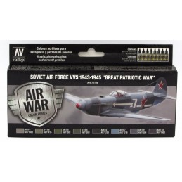 "VAL-71198 Vallejo 71198 Air War Color Series - Soviet Air Force VVS 1943 - 1945 ""Great Patriotic War"" Set"