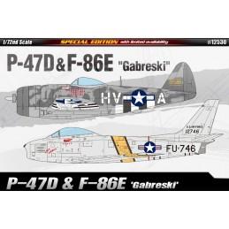 """ACA-12530 ACADEMY 12530 1/72 P-47D  F-86E """"GABRESKI"""" LIM.ED."""