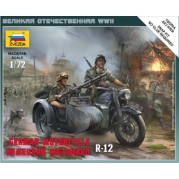 EZ-6142 Zvezda 6142 1/72 German Motorcycle BMW R12 with sidecar