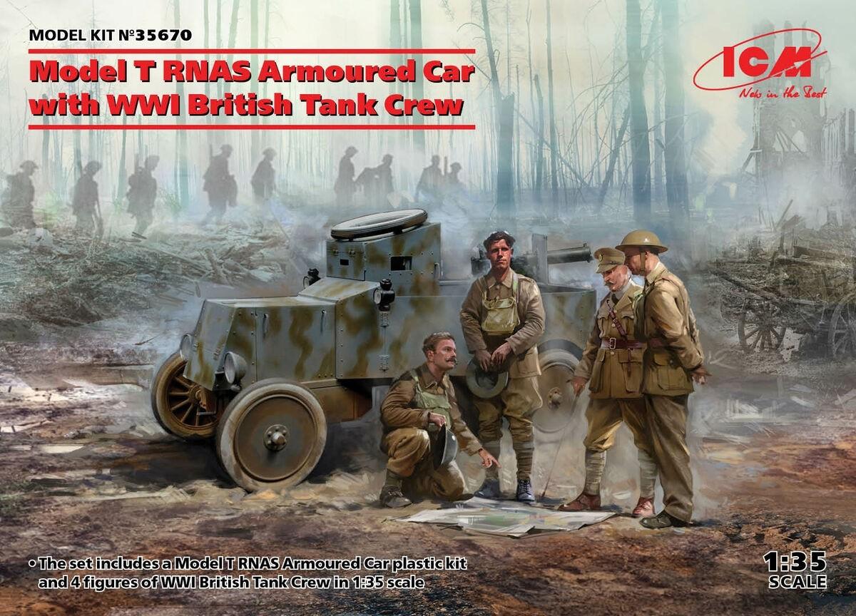 ICM 35670 1/35 Model T RNAS Armoured Car with WWI British Tank Crew